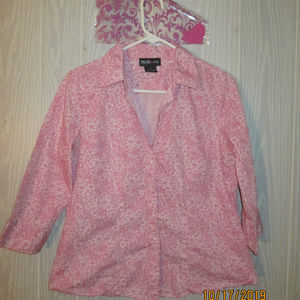 💕STYLE & CO FLORAL PINK AND WHITE COLLAR SHIRT